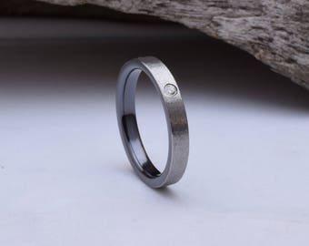 Wedding band women, with a dark interior and a rough grind finish, womens titanium wedding band,  titanium wedding rings women