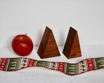 Cedar Christmas Tree Ornaments, Natural Finish, Rustic Modern Christmas, Simple Handmade Wood Ornaments, Eco-Friendly, Minimalist, Set of 8