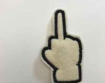Middle Finger Emoji Applique Embroidery Design - 3 Sizes - Multiple Formats - Digital Instant Download