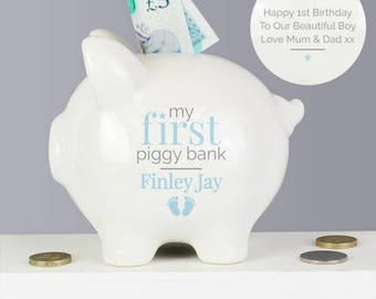 Personalised My First Piggy Bank, Blue, Pink, Boy, Girl, New Baby, Name and Message