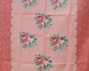 Creamy Peach and Coral Barkcloth Fabric Panels, Pink Roses, Purple Lily of the Valley, Jadeite Green Fern, Shabby Chic, Cottage Style Decor