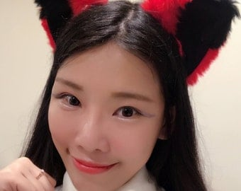 Cat ears Kitty Head wear Red Black Furry Animal Headband Costume Bow Bells