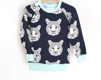 Sweat organic baby and boy - Leopards - Blue Navy