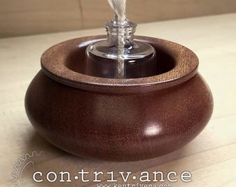 Hand-Turned Mahogany and Oil Lamp | Glass Lamp with Wick