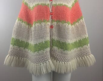 Vintage Hand Knit and Fashioned by Maggie Cream, Orange, and Green Poncho/Size One Size Fits Most