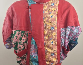 Vintage Red Leather Jacket with High Collar and Floral Print Fabric/Size Men's Large
