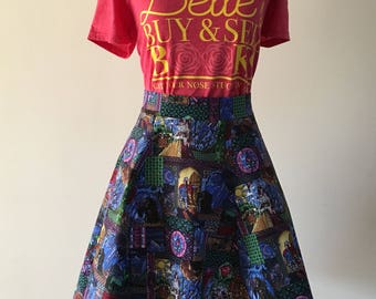 Beauty and the Beast Stained Glass High  Waisted Fit and Flare Skirt
