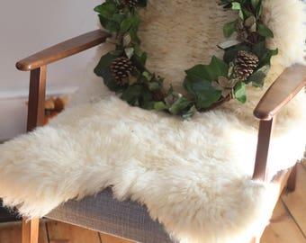 Genuine Natural Ivory Sheepskin Rug | White Sheepskin Throw | White Sheepskin Hide | Real Fur Throw | Large Sheep Skin Rug | White Pelt