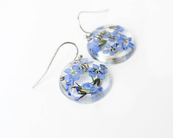 silver blue earrings blue wedding earrings forget me not flower jewelry silver gifts for girls bridesmaid gifts earrings for mom birthday К7