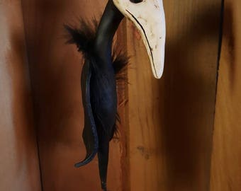 Plague Doctor inspired Bird Sculpture Halloween Folk Art