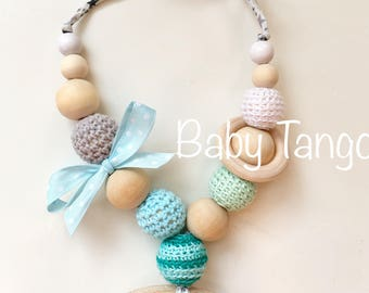 Breastfeeding Necklace*Nursing Necklace*Feeding Necklace*crochet*handmade*baby teething*natural wood*sensory necklace