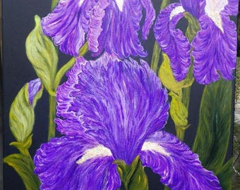 "Acrylic painting on canvas ""Les Iris"""
