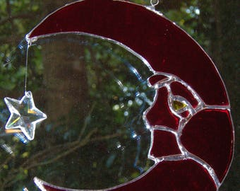 Stained Glass Man in the Moon Sun Catcher