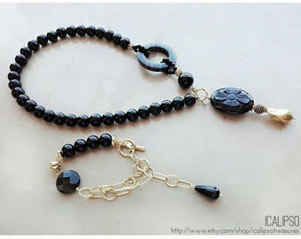 Statement jewelry set, lariat necklace, bead jewelry, gemstone jewelry, onyx necklace, black onyx jewelry, gift for wife, gift for mom