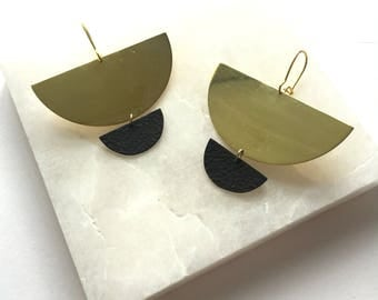 Black and Gold Earrings black and gold brass earrings brass