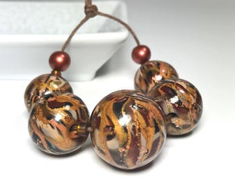 Brown, Copper Gold Elegant Beads, Polymer Clay Beads, Fancy Beads, Handmade Art Beads, Large Round Beads, Beading Supply, Marbled Beads,