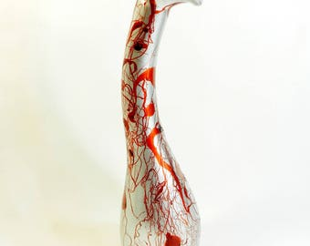 """Vase curved """"Fleur Rouge"""", single model, glass, made by hand"""