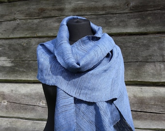 Cashmere scarf, Blue scarf, Linen scarf, Linen, Summer scarf, For her, Extra Long scarf, handwoven scarf, Handwoven shawl blue