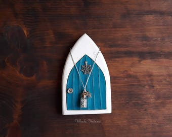 Frozen Fairy Door, Handmade Tooth Fairy Door, Miniature Door, Winter Fairy Door, Unique Gift, Christmas Gift, Gift for Her, Pretend Play
