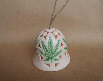 Ceramic bell, Bell with leaves, Hemp leaflets, Cannabis art, Souvenir hemp, Marijuana, bell flora, Plant ornament