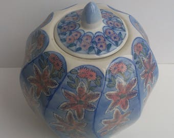 Chinoiserie Ginger Jar Vintage - Pastel Blues and Pinks Florals