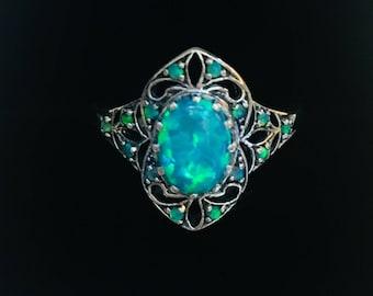 Australian Opal Victorian Style  2ctw. Sterling Silver Ring Sz 7