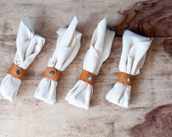 Leather Napkin Rings,  Napkin Holders, Table Decor, Leather Rings