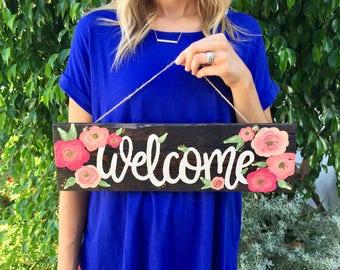 Rustic Wood Sign, Outdoor Welcome Sign, Front Door Sign Florals, Flowers
