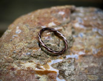 Twisted Copper Stacking Ring, Minimal Ring