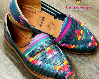 Women's Blue leather sandals with multicolor insert. Mexican huarache sandals.