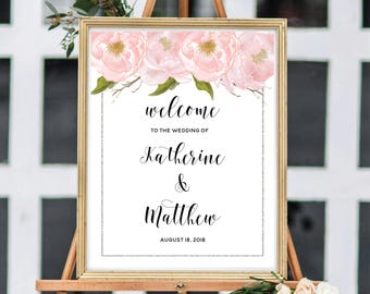 Wedding Welcome Sign, Ceremony Welcome Sign, Personalize Welcome Sign, Bohemian Wedding, Blush Watercolor Peonies, Silver Glitter #SG002