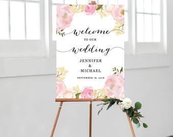 Wedding Welcome Sign, Wedding Welcome Sign Template, Printable Wedding Welcome Sign, Ceremony Welcome Sign, Blush Floral Watercolor