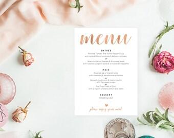 Rose gold wedding menu design, Editable menu, Wedding menu template download, Instant download, Printable menu, Menu wedding, #ZRR10103