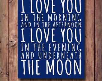 50% OFF I Love You In The Morning And In The Afternoon Print, Nursery Print, Kids Room Decor, Printable Kids Gift, Navy Wall Decor, Boys Art