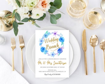 Floral Wedding Brunch Invitation - Post Wedding Brunch Invite - Rustic Wedding -Editable Text -  Downloadable wedding #WDHSN8187