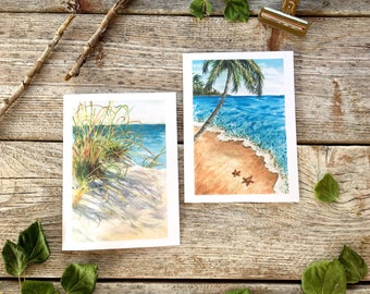 palm beach watercolor // coastal set, nature lovers gifts, beach theme, blue stationary