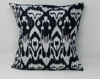 Free Shipping- Black Decorative Kantha pillow cover / Cushion Cover Ikat pillow cover - home decor Decorative Ikat pillow