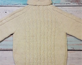 White Pure Sheep Wool Sweater Turtleneck Knitted Fisherman Hand Rustic Thick Russian