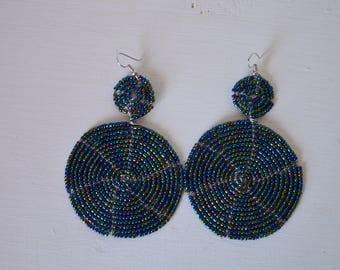 African Maasai Beaded Dangle Earrings | African jewelry | Tribal Earrings | Round Earrings | Elegant Earrings | Gift for Her