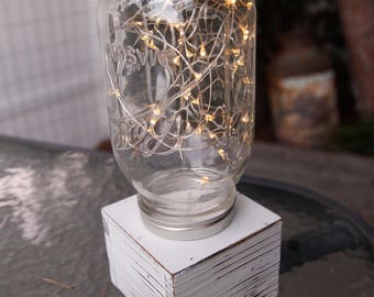 String Light Mason Jar Table Centerpiece