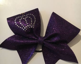 Rhinestone crown cheerleading bow
