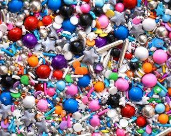 Bulletproof Sprinkle Blend, Black Rainbow Sprinkles, Silver Rod Dragees, Silver Star Sprinkles, metallic edible  sprinkles, Fancy sprinkles
