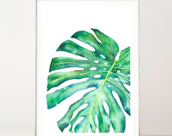 Large Monstera Print, Watercolor Print, Tropical Leaf Print, Watercolor Monstera Leaf, Boho Wall Poster, Monstera deliciosa, Most Sold Items