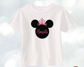 Custom name Disney Minnie Princess Glitter T-shirt Toddler Girls