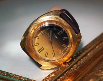 Rare Soviet watch ZARIA- Gold mechanical watch - Vintage women's wrist watch - Watch USSR - Russian watch for lady - Christmas gift - 17J