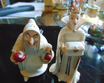 LENOX wicked queen and Hag  salt and pepper shakers  made for Walt Disney