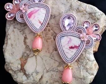 soutache earrings pink, soutache, soutache jewelry, soutache jewels, soutache embroidery, embroidered earrings, handmade earrings