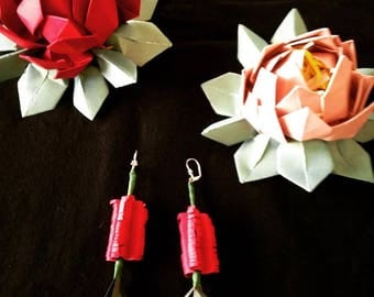 Handmade Kirigami Baby Bottle Brush Earrings