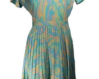 Vintage Handmade Pleated Pastel Dress