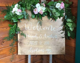 Welcome to our Wedding Wood Sign - Wood Sign, Wedding Sign, Welcome Sign, Hand Lettered Sign, Wedding Decoration, Wedding Decor, Custom Sign